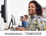 female customer services agent... | Shutterstock . vector #724852303
