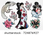 set of flash style japanese... | Shutterstock .eps vector #724876927