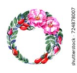 wreath from the branches of a...   Shutterstock . vector #724878007