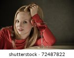Smiling Young Blond Woman With...