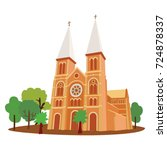 saigon cathedral notre dame... | Shutterstock .eps vector #724878337