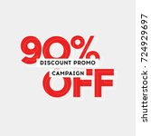 90  off discount sticker. sale... | Shutterstock .eps vector #724929697