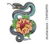 oriental snake and peony flower | Shutterstock .eps vector #724936993