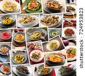 collage of original italian... | Shutterstock . vector #724953823