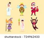 cute kids wearing christmas... | Shutterstock .eps vector #724962433