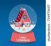 snow globe   christmas... | Shutterstock .eps vector #724973437