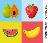 set delicious tropical and... | Shutterstock .eps vector #724989157