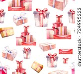 watercolor gift boxes seamless... | Shutterstock . vector #724995223