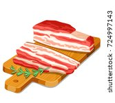 bacon slices with rosemary on... | Shutterstock .eps vector #724997143