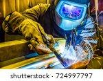 welder  craftsman  erecting... | Shutterstock . vector #724997797