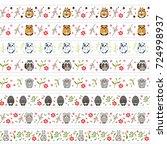 vector set of endless  seamless ... | Shutterstock .eps vector #724998937