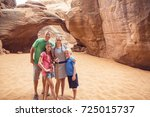 family hiking and sightseeing... | Shutterstock . vector #725015737