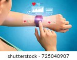 female hand with smartwatch and ... | Shutterstock . vector #725040907
