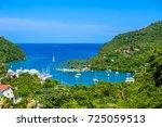 marigot bay  saint lucia ...   Shutterstock . vector #725059513