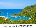 marigot bay  saint lucia ...   Shutterstock . vector #725059573