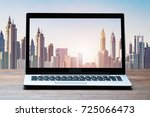 view of laptop on table with... | Shutterstock . vector #725066473