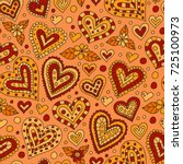 doodle hearts seamless pattern. ... | Shutterstock .eps vector #725100973