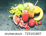 fresh juices squeeze bottles... | Shutterstock . vector #725101807