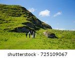 beautiful green fields and... | Shutterstock . vector #725109067