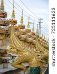 close up of the golden dragons... | Shutterstock . vector #725111623
