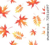 Autumn leafs seamless pattern. Watercolor illustration.