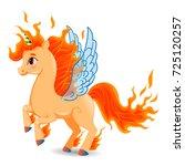 fire unicorn beige pony... | Shutterstock .eps vector #725120257