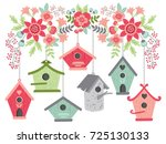 Vector Birdhouses Hanging From...