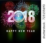 happy new year 2018 greeting... | Shutterstock . vector #725155693