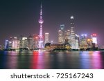shanghai night skyline ...   Shutterstock . vector #725167243