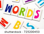 Small photo of word words made of colorful letters on white background