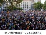 barcelona  20 09 2017 people go ... | Shutterstock . vector #725215543