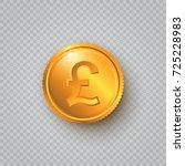 gold coin with pound sign on a... | Shutterstock .eps vector #725228983