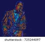jazz trumpet player. vector... | Shutterstock .eps vector #725244097