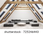 attic living room interior with ... | Shutterstock . vector #725246443