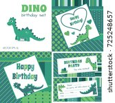dino birthday set. blue and... | Shutterstock .eps vector #725248657