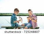 cute children fishing on summer ... | Shutterstock . vector #725248807