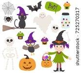 set of isolated halloween... | Shutterstock .eps vector #725270317