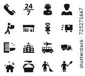 16 vector icon set   phone  24... | Shutterstock .eps vector #725271667
