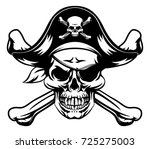 a skull and crossbones dressed... | Shutterstock .eps vector #725275003