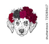 a beautiful puppy in a flower... | Shutterstock .eps vector #725285617