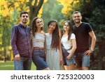 five young people friends... | Shutterstock . vector #725320003
