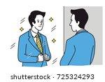 handsome businessman looking at ... | Shutterstock .eps vector #725324293