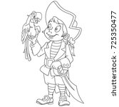 coloring page of cartoon pirate ... | Shutterstock .eps vector #725350477