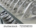 on the shelves of finished... | Shutterstock . vector #725358553