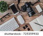 top view of photographer work... | Shutterstock . vector #725359933