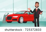 sale of a new car. the seller... | Shutterstock .eps vector #725372833