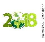 happy new year 2018 | Shutterstock .eps vector #725418577
