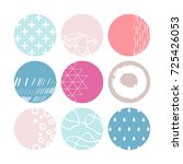 set of 9 circle stickers in... | Shutterstock .eps vector #725426053