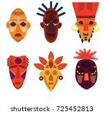 set african masks. vector... | Shutterstock .eps vector #725452813