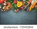 traditional autumn vegetables... | Shutterstock . vector #725452843